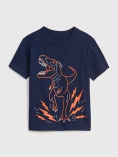 Gap Babies' Toddler Graphic Short Sleeve T-Shirt Elysian Blue Boys Summer Outfits, Boy Outfits, Polo Shirt Outfits, Dinosaur Shirt, Dress Shirts For Women, Summer Shirts, Boys Shirts, T Rex, Printed Shirts