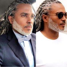 Black Men Beards, Handsome Black Men, My Black Is Beautiful, Gorgeous Men, Grey Hair Men, Grey Hair Black Man, Gray Hair, Dreadlocks Men, Locs