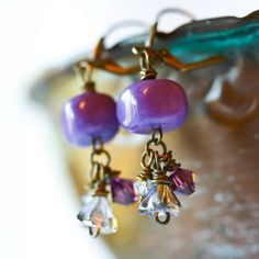 Vintage brass purple pebble earings - I absolutly love this color