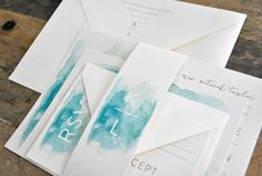 Taylor Watercolor Wedding Invitation Suite with Monogram Belly Band - Ivory, Champagne Gold, Watercolor blues - Customizable