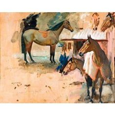 Stables at Withypool, Exmoor, Studies of 'Cherrybounce' and 'Anarchist', painting by Alfred Munnings Mary Cassatt, Horse Drawings, Animal Drawings, Drawing Animals, Henri Matisse, Vincent Van Gogh, Claude Monet, Alfred Munnings, Gauguin