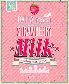 Vintage Strawberry Milk poster. Vector illustration. — Stock ...