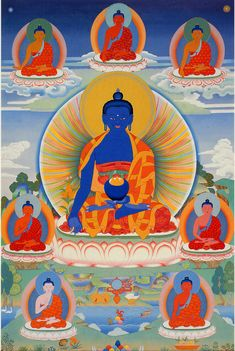 Our hearts and prayers go out to the victims of the senseless tragedy that occurred today at the Boston Marathon.   Lama Zopa Rinpoche always advises to make strong prayers to Medicine Buddha for anyone who is dying, sick, injured, or who has already died from the violence that occurred today in Boston and elsewhere.  The mantra of Medicine Buddha is:   TADYATA OM BHEKHANDZYE BHEKHANDZYE MAHA BHEKHANDZYE (BHEKHANDZYE) RAJA SAMUDGATE SVAHA   Medicine Buddha painted by Peter Islie