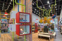 MP Brinquedos - Estúdio Jacarandá Kids Toy Shop, Toys Shop, Kids Toys, Shop Lego, Comic Store, Industrial Loft, Shop Interior Design, Shopping Stores, Creative Decor