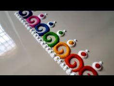 Rangoli Side Designs, Simple Rangoli Border Designs, Rangoli Borders, Small Rangoli Design, Colorful Rangoli Designs, Rangoli Designs Diwali, Rangoli Designs Images, Simple Designs, Easy Rangoli