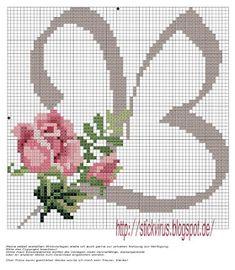 alphabet - b - rose - point de croix - cross stitch - Blog : http://broderiemimie44.canalblog.com/