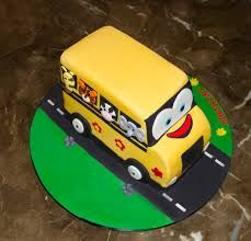 Image result for The wheels on the bus yellow birthday cake