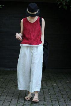 壹旧原著夏季柔软艺术红肩部小开叉短款无袖套头棉麻小背心-淘宝网