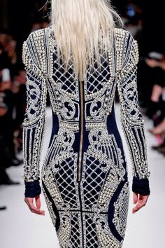 Balmain Pearl and Crystal Embroidered Dress