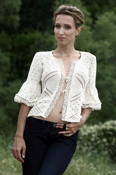 Designer Cotton crochet jacket, Sz M
