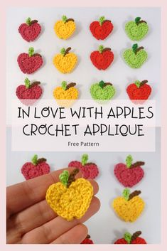 In Love with Apples Crochet Applique - an easy and quick crochet applique, a great addition to your kitchen accessories, back-to-school, and baby item. Crochet Cupcake, Crochet Bib, Crochet Octopus, Quick Crochet, Free Crochet, Crochet Owls, Crochet Animals, Crochet Summer, Crochet Mandala