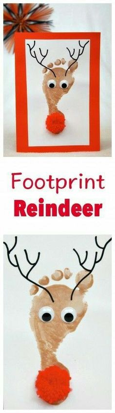Fun And Easy Christmas Crafts For Kids : Reindeer Footprint Kids Crafts, Christmas Crafts For Toddlers, Daycare Crafts, Preschool Christmas, Baby Crafts, Toddler Crafts, Preschool Crafts, Kids Christmas, Holiday Crafts