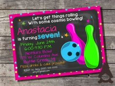 Cosmic Bowling Invitation, Galactic Bowling Party, Bowling Alley Party, Glow Bowling Party, Printable Invitation for Girls Birthday Party