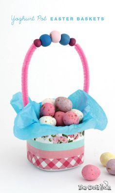 Yoghurt Cup Easter Basket Craft for Kids