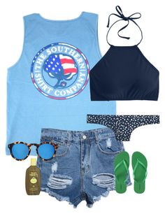 """""""Day #7: Beach"""" by caroline-barker ❤ liked on Polyvore featuring WithChic, J.Crew, Illesteva, Old Navy, Sun Bum and schoolsoutmadiandashe"""