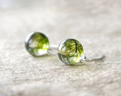 Real moss globe earrings - unique woodland crystal resin ball - 925 sterling silver ear threaders