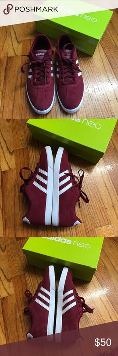 Adidas Neo sneakers burgundy Selling is gorgeous pair of burgundy suede adidas neo sneakers. These were lightly worn only once with no signs of use at all. Comes with burgundy and white laces to switch up your look. adidas Shoes Sneakers
