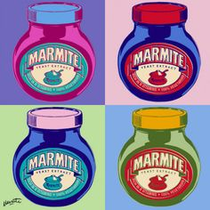 marmite pop art marmite i medium buy unframed £ 24 95 60 x buy . Andy Warhol Pop Art, Roy Lichtenstein, Le Pop Art, Pop Art Essen, Pop Art Food, Pop Art Colors, La Marmite, Jar Design, Design Ideas