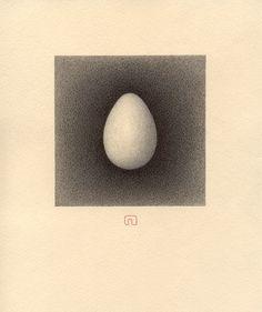 "Saatchi Online Artist: Slavomir Zombek; Pencil, 2000, Drawing ""ILLUMINATED EGG"""
