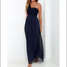 Bridesmaid dress Navy brand new dress. Runs small so it doesn't fit me. Never worn. Built in padding and great quality material. Non returnable because I bought it on sale. I wish it fit. Lulus Dresses Maxi