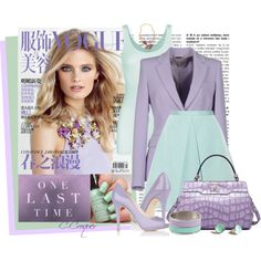 A fashion look from March 2015 featuring green tank, purple jacket and mint skirt. Browse and shop related looks.