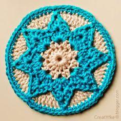 CreatYfke's Crochet and Knitting Blog: Small star coaster - pattern Crochet Stars, Crochet Circles, Crochet Blocks, Crochet Round, Crochet Motif, Crochet Doilies, Crochet Patterns, Crochet Coaster, Yarn Projects