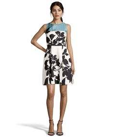 Taylor Almond And Lagoon Floral Print Crepe Fit-And-Flare Dress