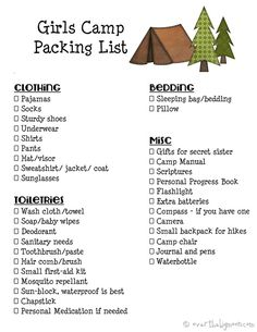 Girls Camp Printable Packing List and Leaders Must Haves for Camp!   Over The Big Moon