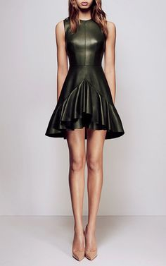 This **Alex Perry** dress, rendered in leather, features a high crew neck and fit-and-flare silhouette with ruffle detail through the skirt.
