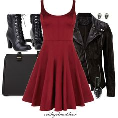 """Hardcore"" by irishgrlnextdoor on Polyvore punk rocker outfit. Leather and skulls!"