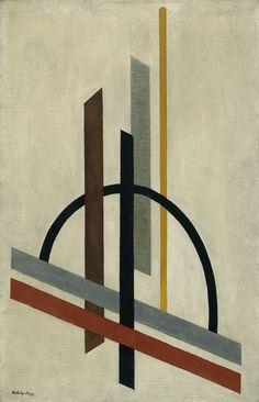 László Moholy-Nagy | Architecture | c.1920–21 | Oil onburlap | 75.6 × 48.9cm.