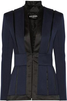 Balmain Satin-trimmed wool-crepe blazer   THE OUTNET