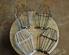 Vintage Industrial Decor Wire Bulb Cage, Clamp On Lamp Guard, Vintage Industrial Trouble Lights, Pendants - Vintage Industrial Lighting, Industrial Light Fixtures, Industrial Shelving, Home Decor Lights, Diy Home Decor, Cage, Ceiling Fan Makeover, Chandelier Makeover, Vintage Home Decor