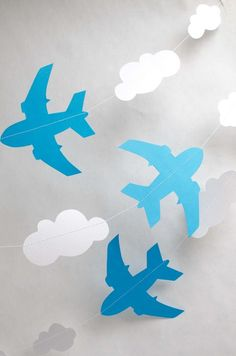 Blue Aeroplanes and Clouds Garland