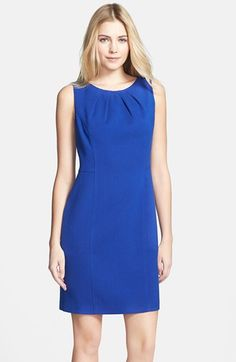 Eliza J Pleat Neckline Crepe Sheath Dress available at #Nordstrom