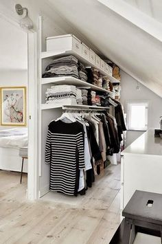 Add style and storage space to your bed room with these open closet designs nordic house - open closet design. I think I might use this idea when I finally turn the spare bedroom into a closet/dressing room. Attic Closet, Closet Bedroom, Master Closet, Closet Wall, Diy Bedroom, Ikea Closet, Tiny Closet, Garage Attic, Bedroom Ideas