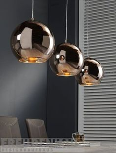 Hängelampe Retro Ball 3 Kugeln Kupfer Retro futuristic design for your home. The Retro Ball pendant lamp with its three copper-colored light hoods is an ideal choice for stylish and expressive interio Retro, Lamp, Modern Lighting Design, Table Pendant, Lamp Decor, Pendant Lamp, Hanging Lamp, Bedroom Lamps, Dining Table Lamps
