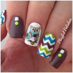 Owl Nail Art (Water Decals from BornPrettyStore. Use coupon code UTG10 for 10% off).