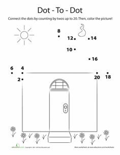 What still needs building to complete this picture? Challenge your child to count by twos with this fun worksheet, and connect the dots to reveal the hidden picture! Fun Worksheets, Writing Worksheets, Skip Counting By 2, Connect The Dots, First Grade Math, Educational Games, Kindergarten Math, Math Activities, Teaching