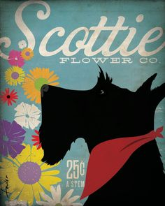 Scottie Flower Co. Scottish Terrier Art