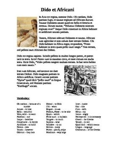 Latin story about Dido, the queen of Carthage, and how she tricked the Africans into giving her land for her new city. This is the first story that Latin I reads during the year, so it's pretty simple and only contains 1st declension nouns and verbs in the present active. Suitable for high school or middle school. It takes me 1-2 classes to complete translating the story. Some vocabulary is glossed at the bottom.