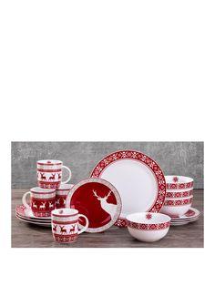 Nordic Reindeer 16-piece Dinner Set   very.co.uk  sc 1 st  Pinterest & Buy Damask 12 Piece Porcelain Dinner Set - Grey at Argos.co.uk ...