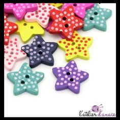 Bois 50 boutons-Polka Dot-Fleur 19 mm-SCRAPBOOKING-Artisanat-Couture