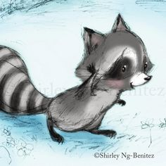 Well, hello there! By Shirley Ng-Benitez Raccoon Illustration, Cute Illustration, Cute Cartoon Animals, Cute Animals, Cartoon Drawings, Animal Drawings, Baby Racoon, Raccoon Art, Power Animal