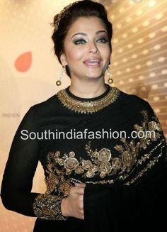 aishwarya rai in sabyasachi high neck blouse