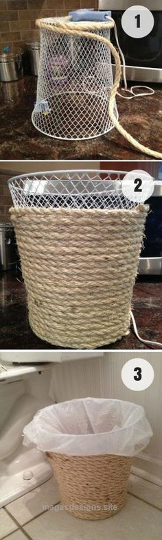 Marvelous Easy to make DIY Rope Trash Can for rustic bathroom decor Industry Standard Design The post Easy to make DIY Rope Trash Can for rustic bathroom decor Industry Standard Desi… appeared ..