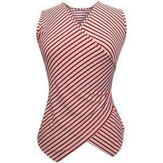 Red & White Striped Sleeveless Wrap Top