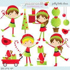 Jolly Little Elves Cute Christmas Digital por JWIllustrations