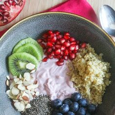Breakfast Bowl Ideas With Yoghurt, Cooked Quinoa, Blueberries, Chia Seeds, Pomegranate Seeds, Sliced Almonds, Kiwi