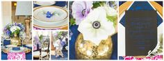 Hot pink, navy blue and gold table decor